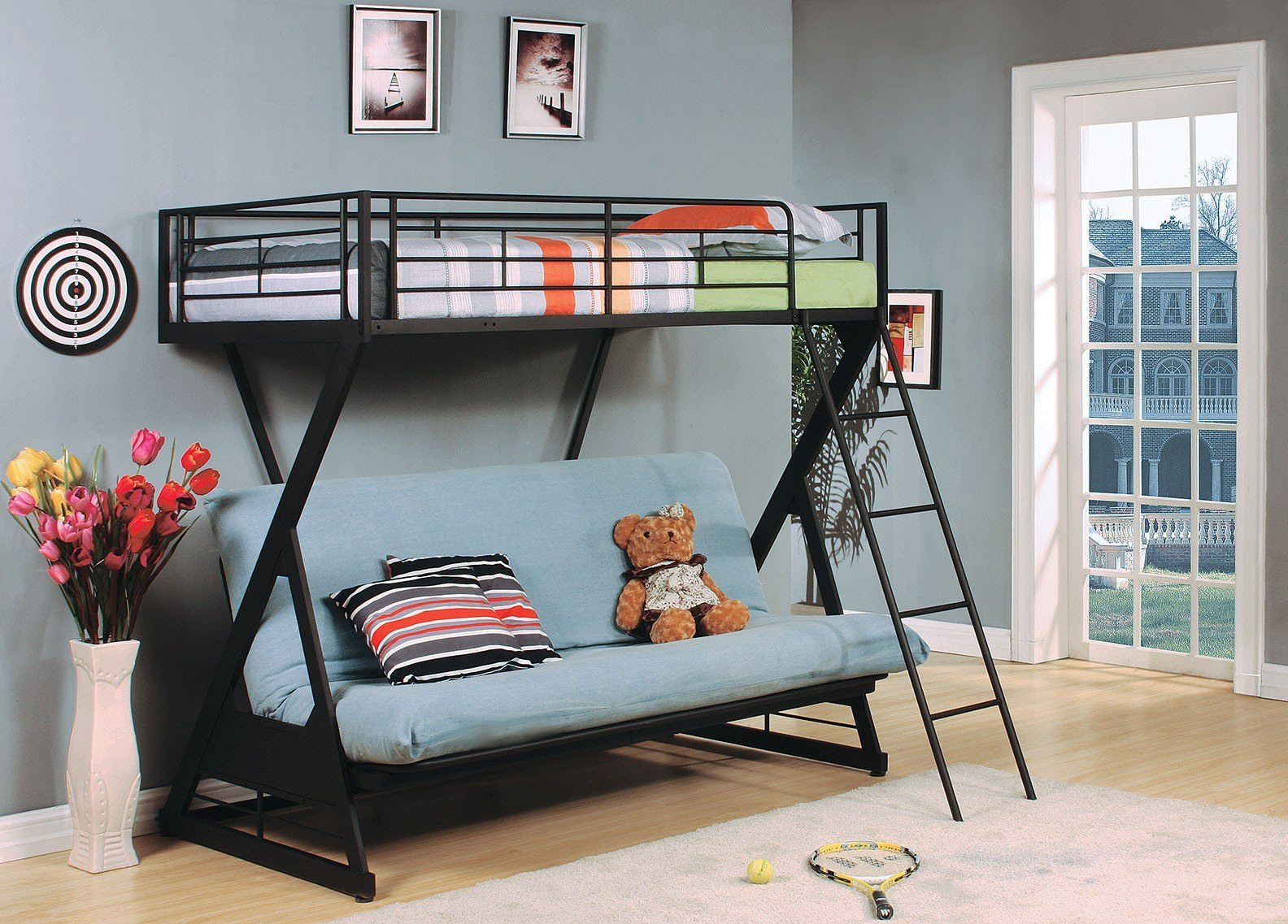 Zazie Twin Full Futon Bunk Bed 37134 343 Features Sandy Black Finish Dimensions