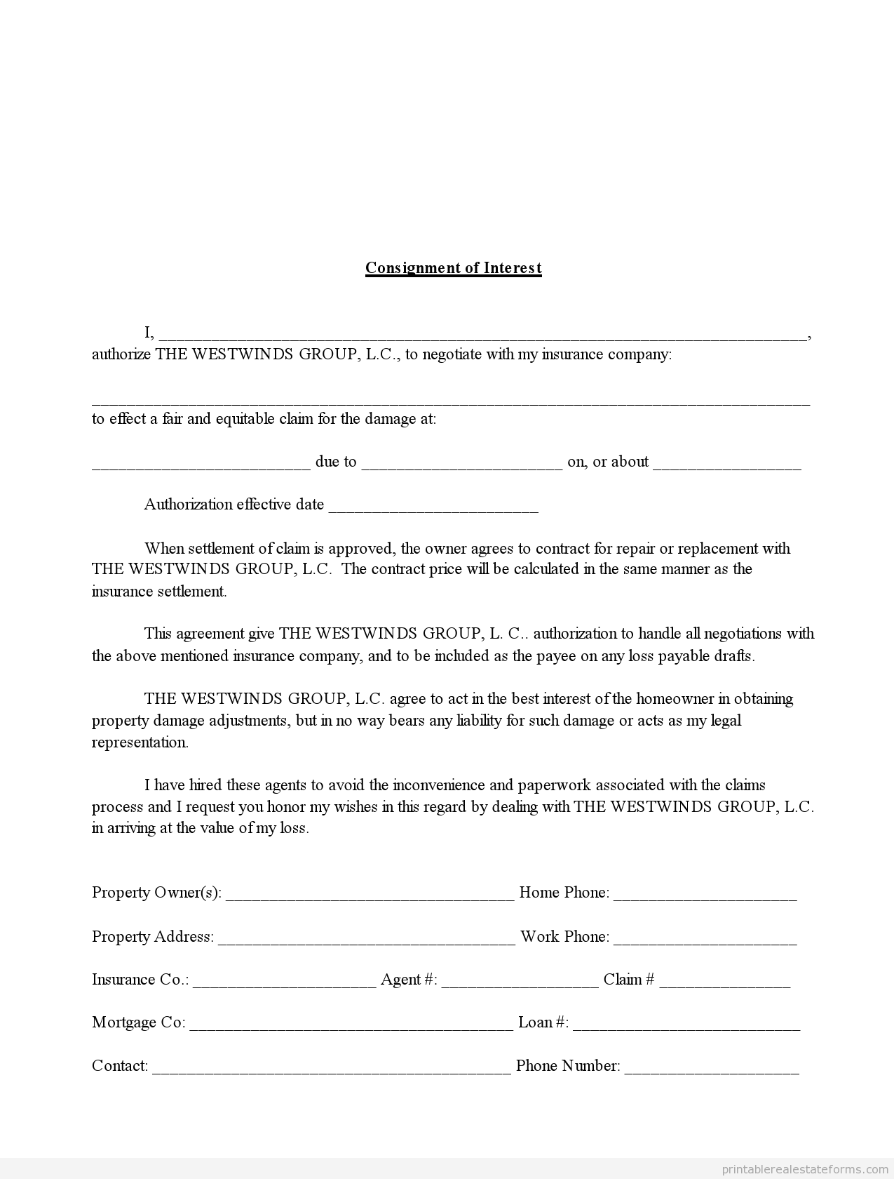 Sample Printable Consignment Of Interest In Insurance Claim Form