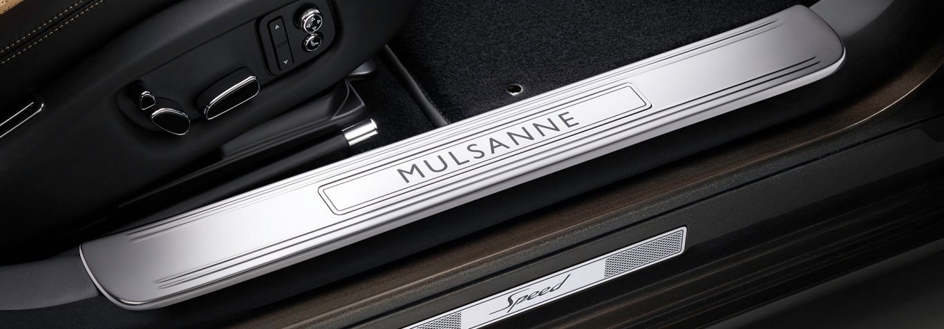 As you step into the car, you are greeted with one final, important detail. The polished stainless steel tread plates, etched with the words: 'Mulsanne' and 'Speed'. Explore model features here: http://www.bentleymotors.com/en/models/mulsanne/mulsanne-speed/model-features.html