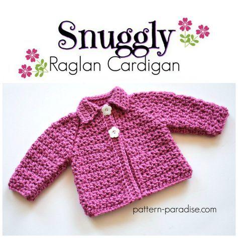 Free Crochet Pattern: Snuggly Raglan Cardigan | Free crochet ...