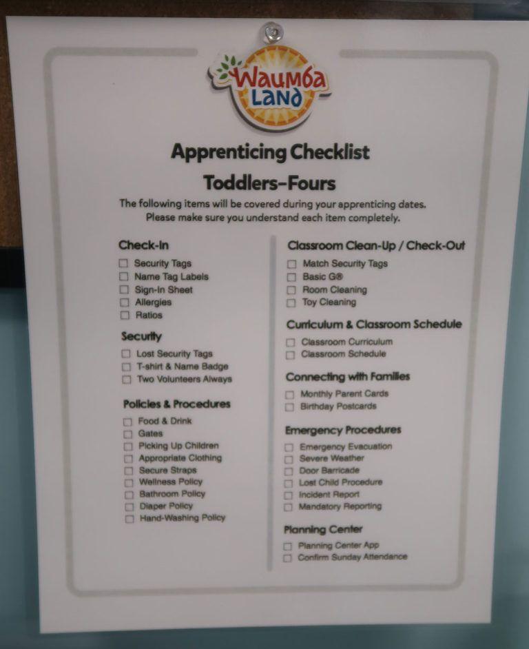 New Volunteer Check List Church Ministry Kids Ideas Nursery Decor