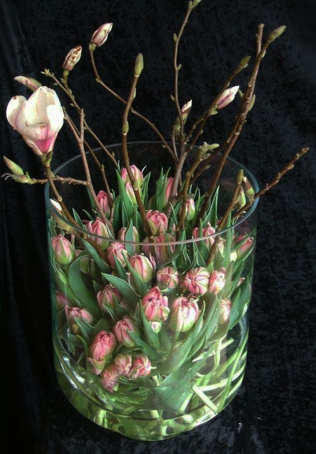 Delicate spring decoration with tulips for fresh interior design