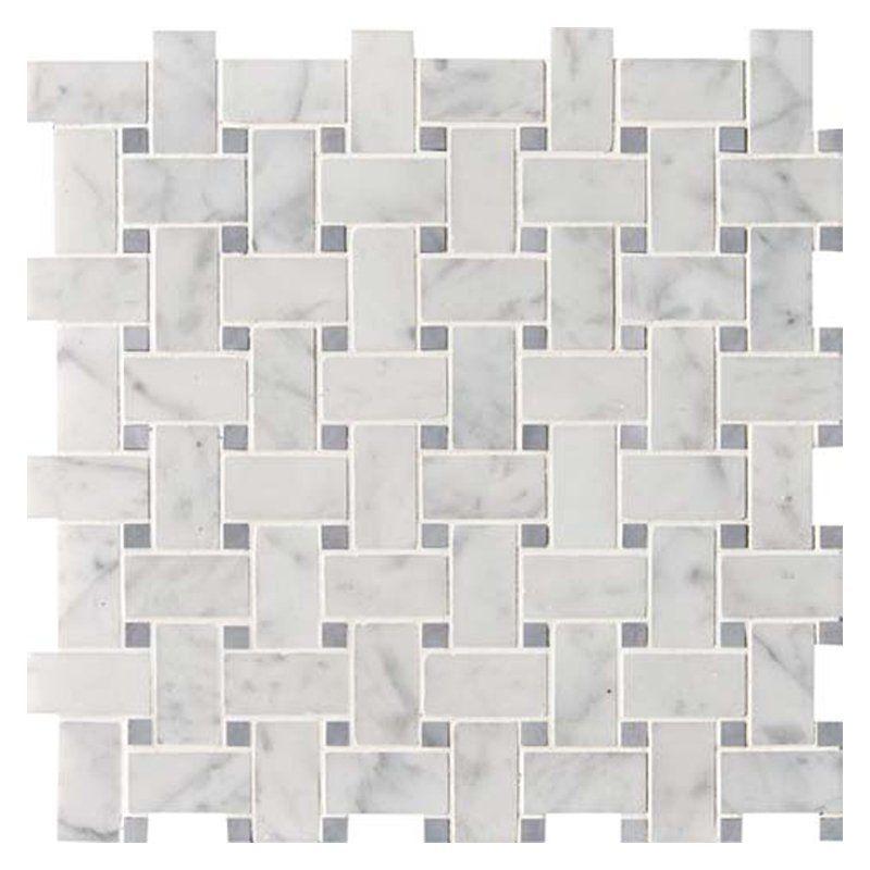 White Carrara Bardiglio Honed Basket Weave Marble Mosaics 12x12 Country Floors Of America Llc Marble Mosaic Carrara Granite Tile