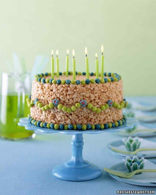 Make A No Bake Birthday Cake ENTIRELY OUT OF RICE KRISPIES