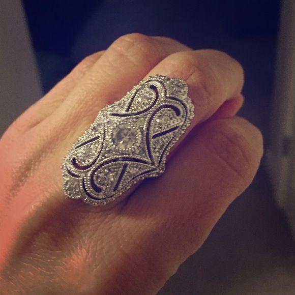 Gorgeous dinner ring Cz & sterling silver elegant dinner ring. Never worn. Jewelry Rings