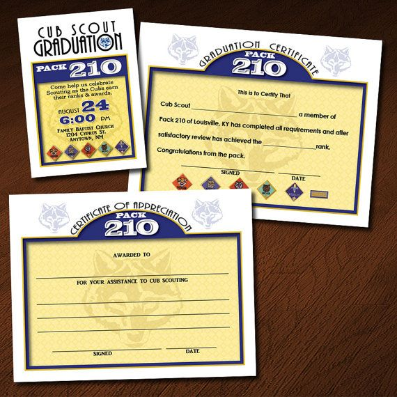 Custom Cub Scout Graduation (or Blue \ Gold) Invitation - graduation certificate