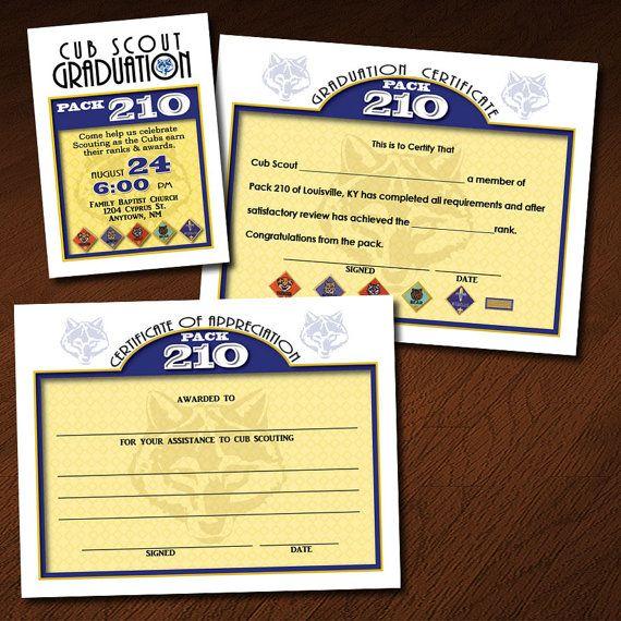 Custom Cub Scout Graduation (or Blue \ Gold) Invitation - graduation certificate