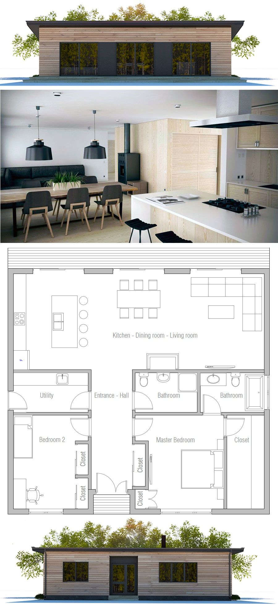 Two bedroom house plan   house   Pinterest   Bedrooms  House and     Two bedroom house plan