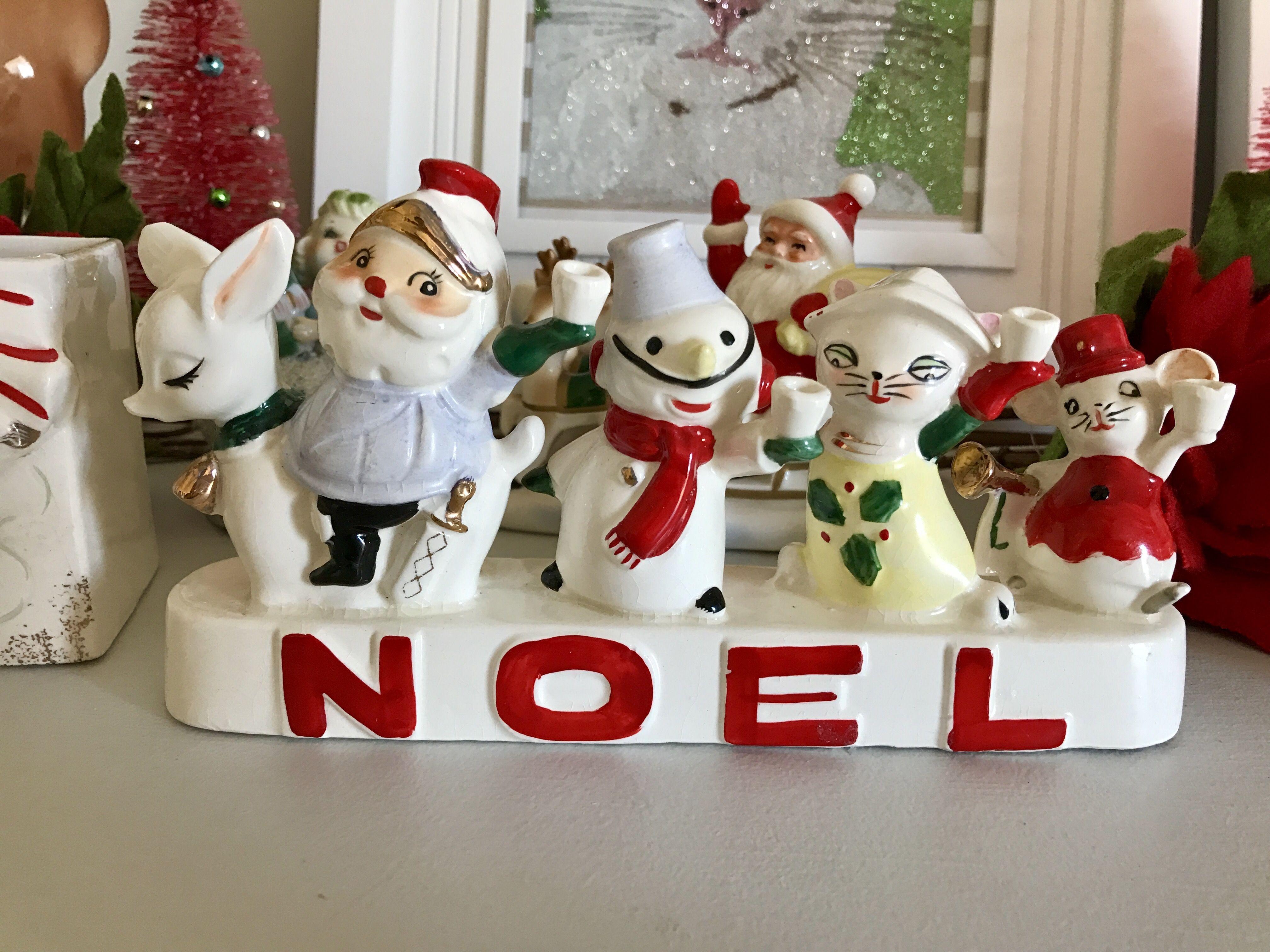 Vintage Reindeer Santa Snowman Cat Mouse NOEL Christmas Figurine Japan 1950s 140