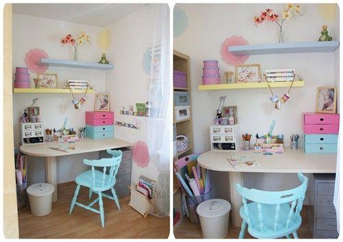 Pastel home office craft room bureau atelier et