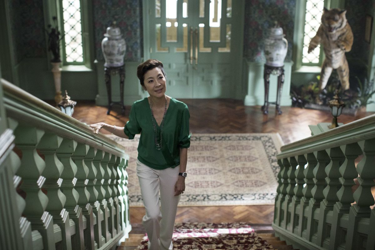 fe83e7ef6 ... Crazy Rich Asians takes on Hollywood. Eleanor on her way to face-off  with Rachel. (Look very closely at the ring on her left hand.) Photo: Sanja  Bucko