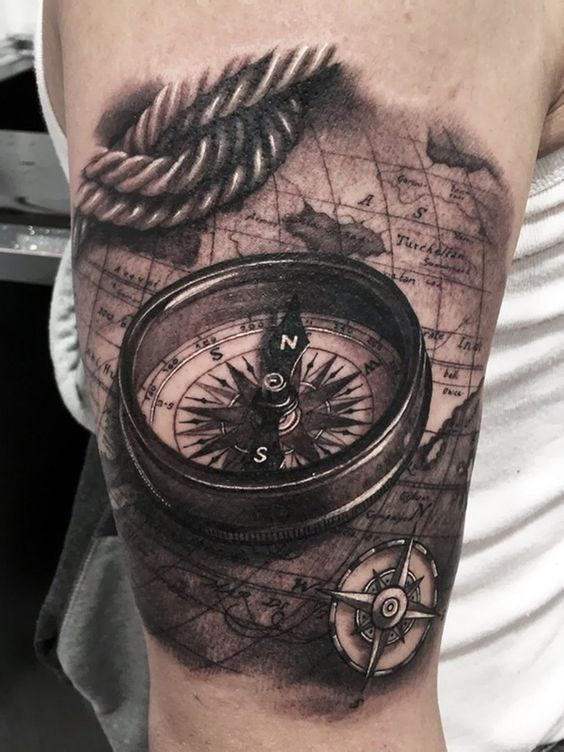 05 artistically rich 3D compass, rope and world map tattoo ...
