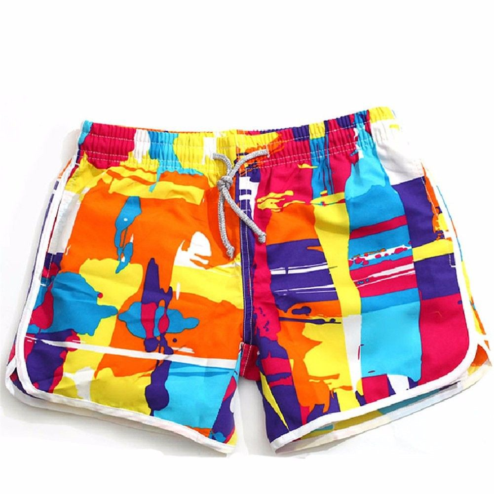 Women's Board Shorts No Mesh Lining Swim Trunks Quick Dry Swimwear Bottom - Orange - CW18HCXQDRE - S...
