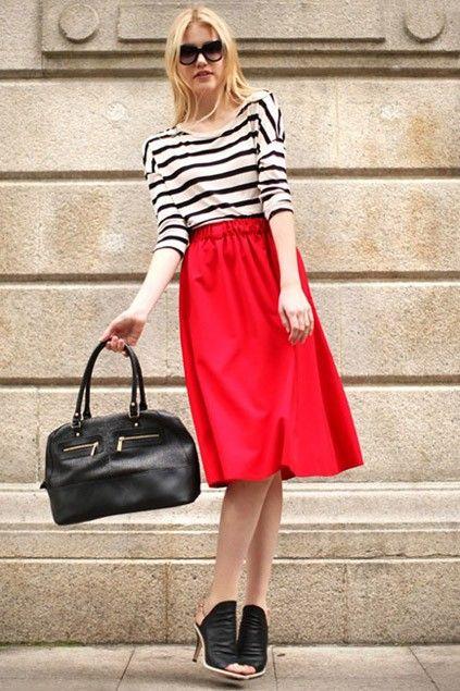 Vintage Style Elasticated Waistband A-Line Skirt - OASAP. | Style ...