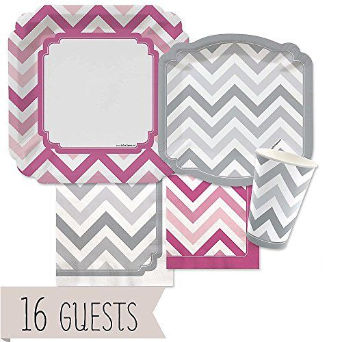 Chevron Pink And Gray Party Tableware Plates Cups