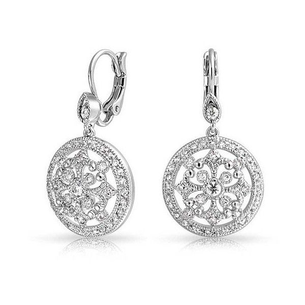 Bling Jewelry Vintage Style Cz Pave Circle Dangle Leverback Earrings 41 Liked On
