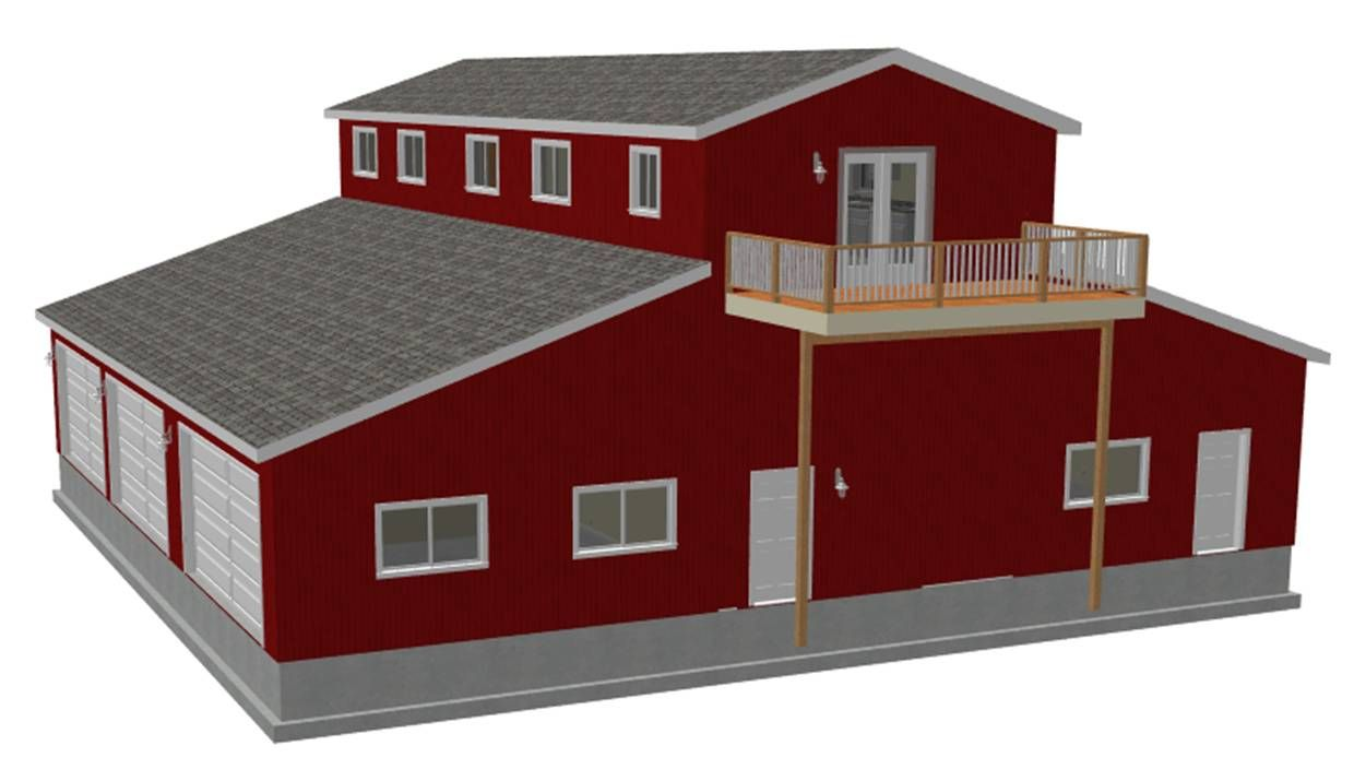 Pole barn designs mwps 72054 housing 24 pole utility for Barn style garage plans for free