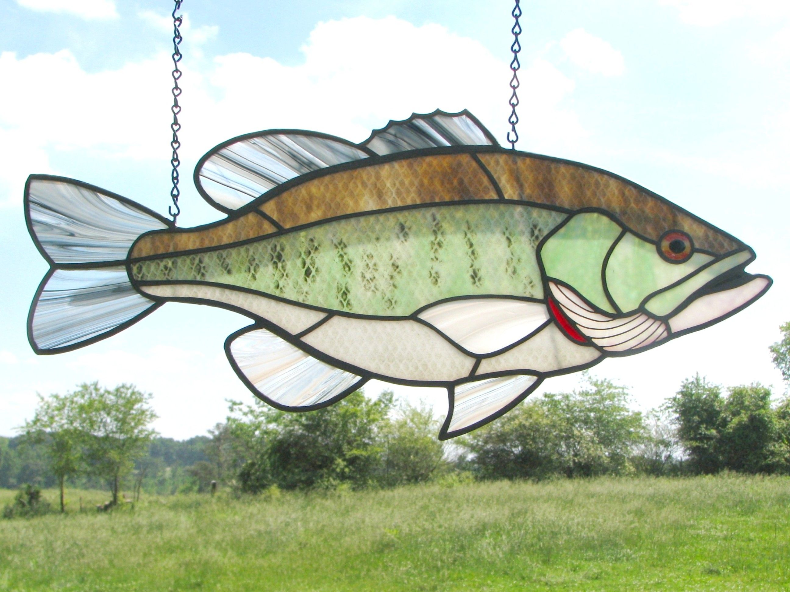 Fresh water fish stained glass art stained glass panels for Stained glass fish