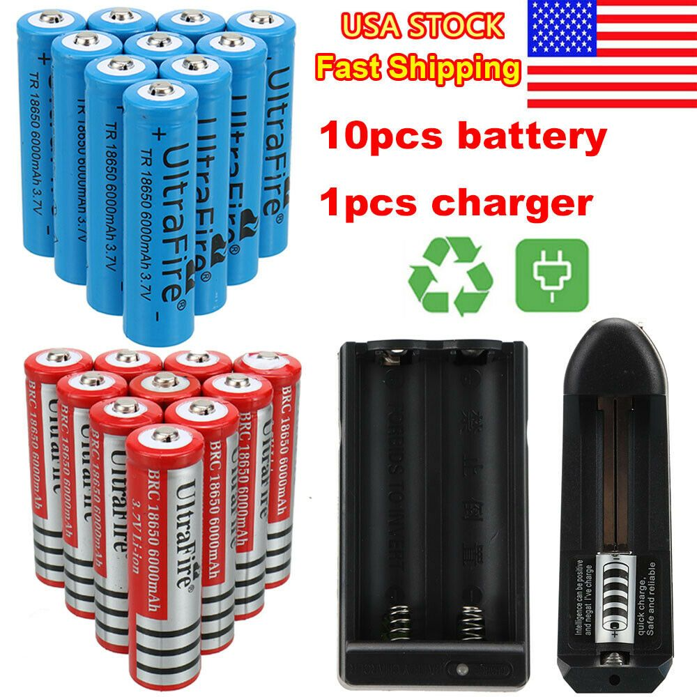 Bright Police 350000LM Zoom T6 LED 18650 Flashlight 5Modes Torch Battery Charger