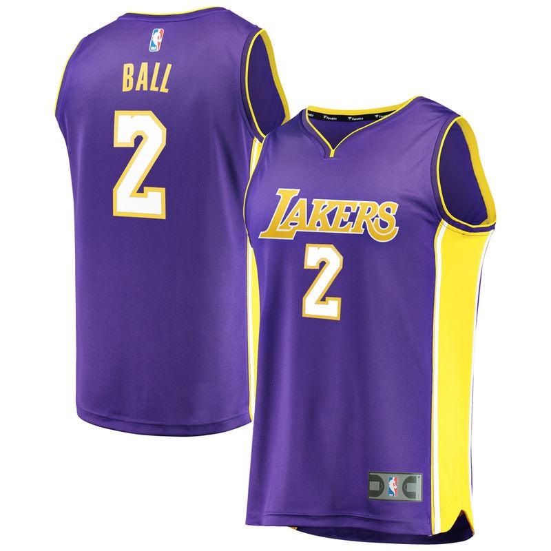 release date: fd005 074e6 Lonzo Ball Los Angeles Lakers Fanatics Branded Fast Break ...