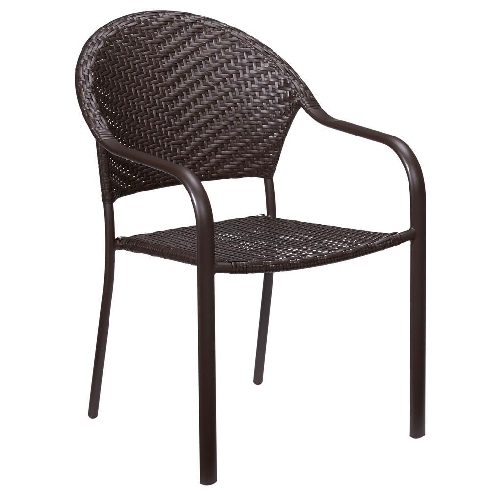 stackable metal patio chairs foldable circle chair hampton bay mix and match wicker outdoor dining in brown frs60537 the home depot