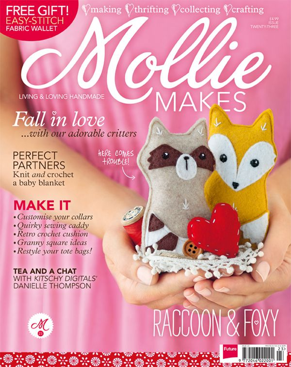 Mollie Makes issue 23: Woodland felties, retro cushion covers, cosy blankets and super-quick shoe clips