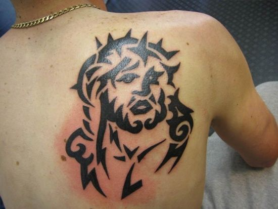 Tribal Jesus Tattoo Designs And Meaning For Men On Upper Back Image Tattoos For Guys Jesus Tattoo Jesus Tattoo Design