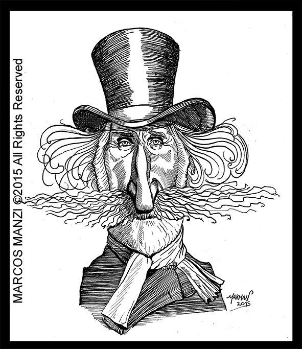giuseppe verdi caricatura tinta china sobre cartulina caricature