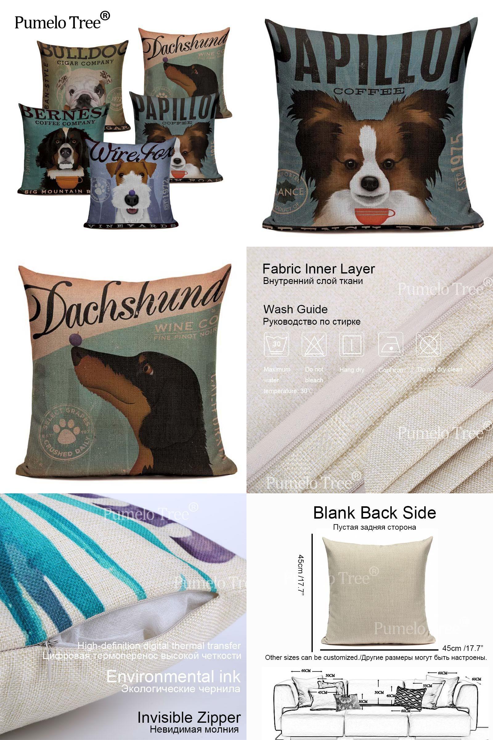 Table & Sofa Linens Lovely Linen Cotton Retro Pet Dog Bulldog Papillon Case Cover 45cmx45cm Square Lumbar Support Printed Cushion Covering Special Buy Home & Garden