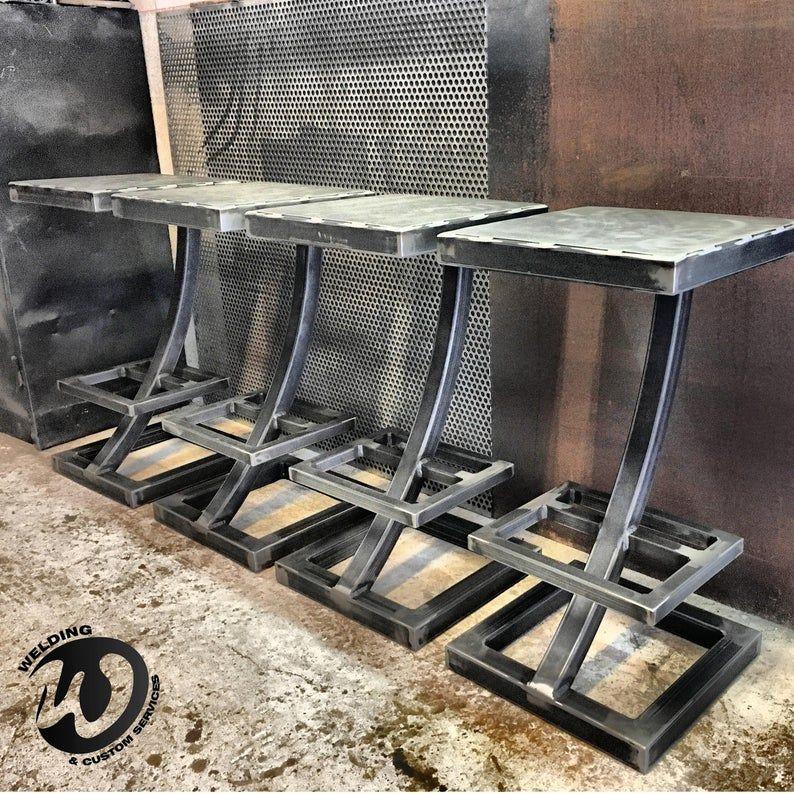 Pair Of Bar Stool Steel Industrial Design Custom Design High Chair Bar Furniture Pub Lounge Kitchen In 2020 Metal Furniture Welded Furniture Steel Furniture