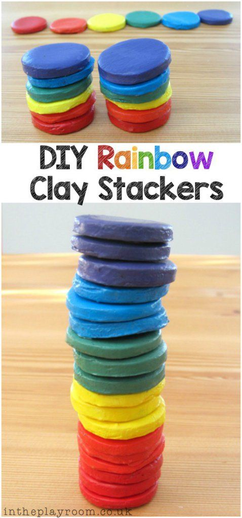 DIY Rainbow Clay Stackers - In The Playroom