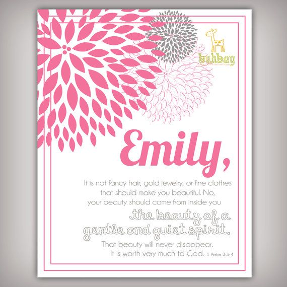 Scripture Bible Verse Art Print For Girls Room 1 Peter By Buhbay 1400