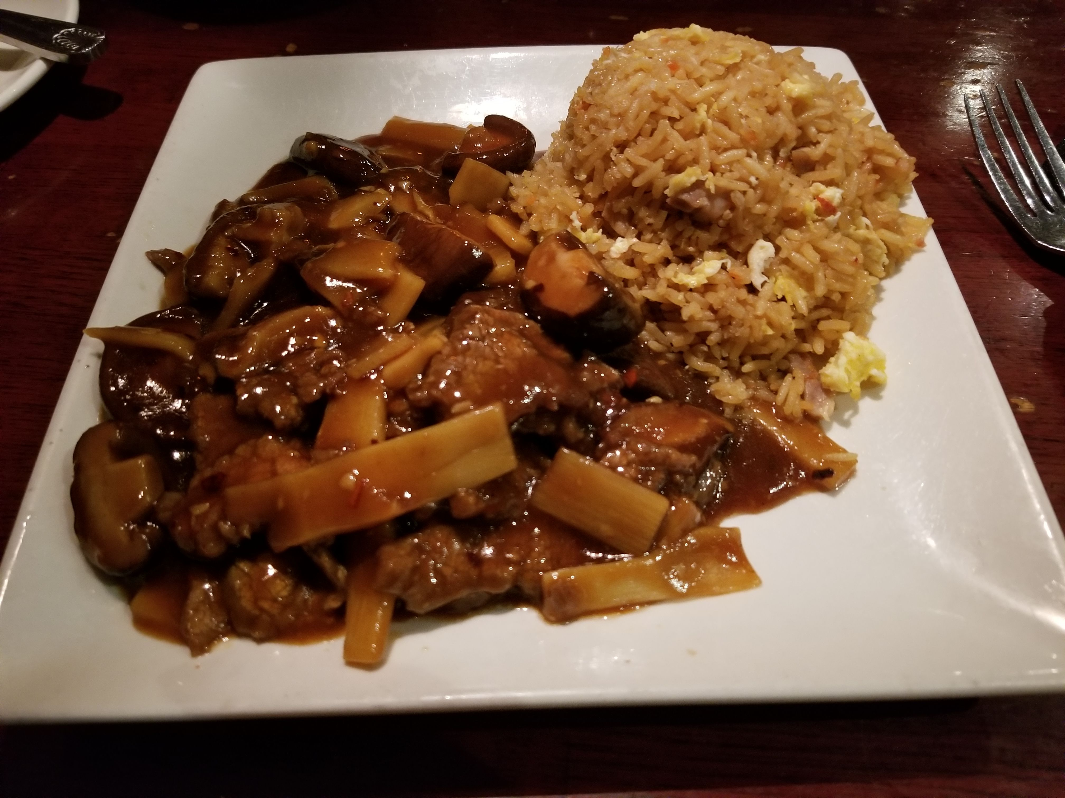 The Beef With Two Delights Dish From A Chinese Restaurant In South Daytona Florida Features Chopped Steak With Bamboo Shoo Chopped Steak Pork Fried Rice Food