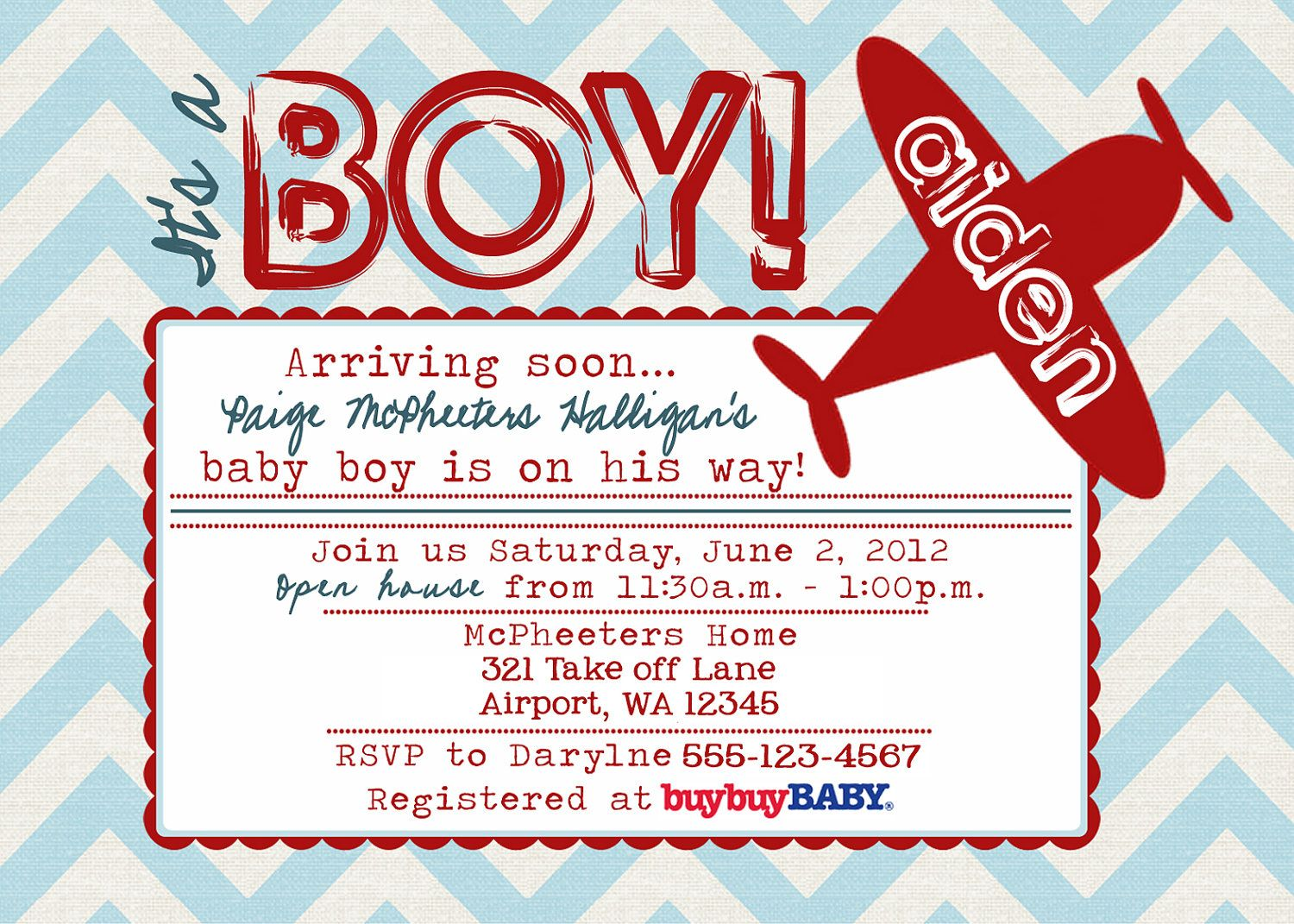 Printable POSTCARD Vintage Airplane baby shower invitation -- A ...