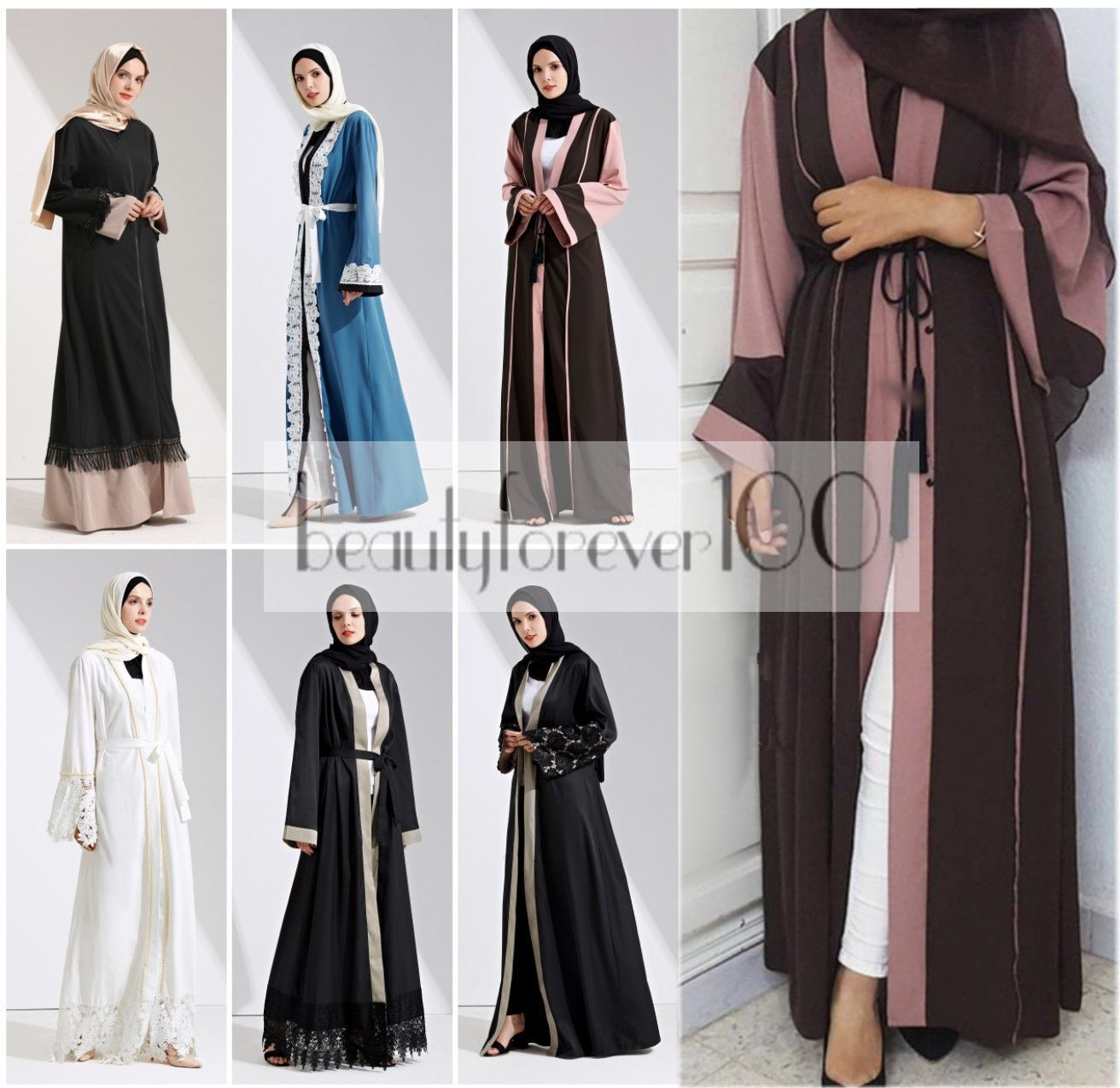 Dubai Abaya Kaftan Jilabiya Muslim Women Maxi Dress Flare Umbrella Style Maroon