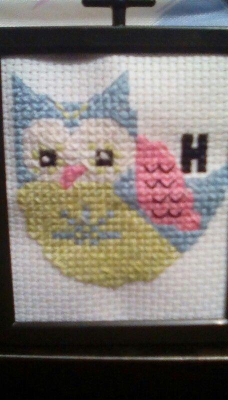 Just finished!! Cute owl counter cross stitch. It took about 4 days to make.