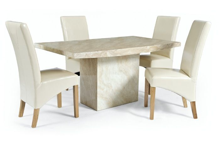 Crema Medium Marble Dining Table With 4 Cream Leather Chairs The London Marble Company Dining Table Marble Marble Furniture Furniture