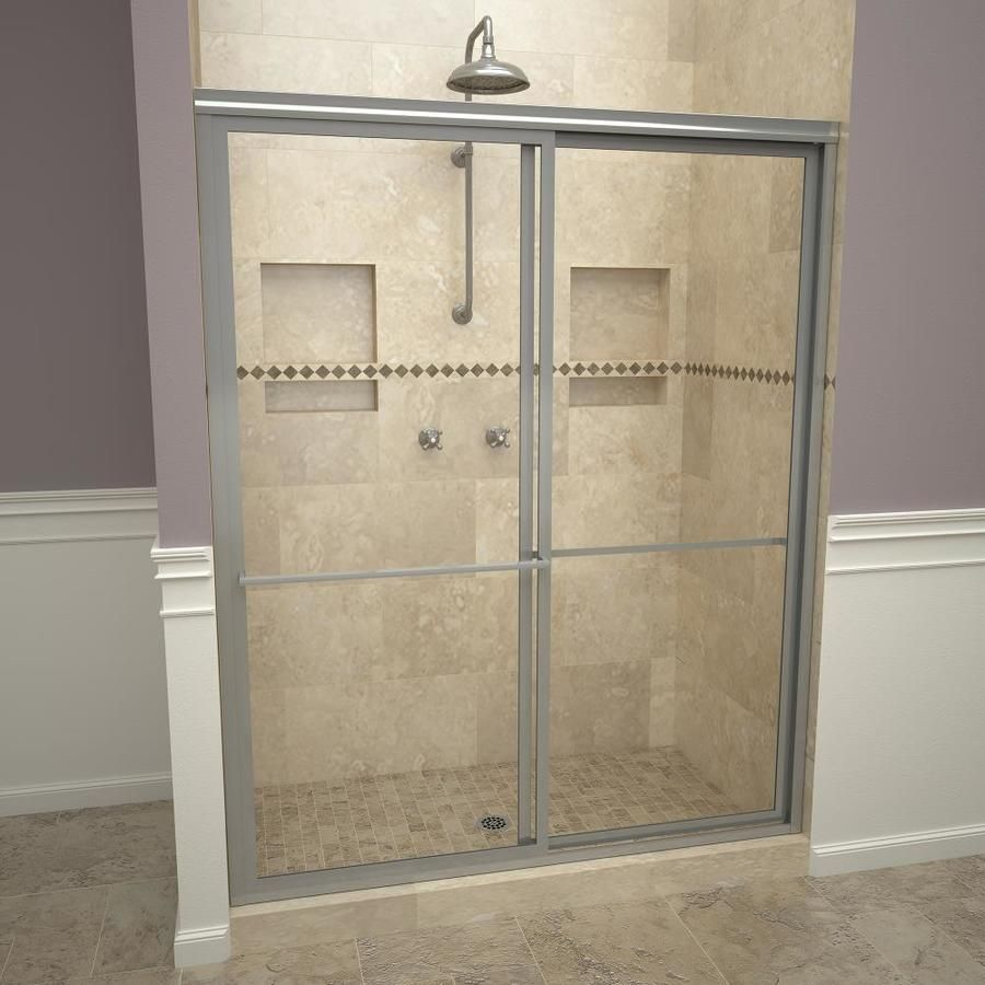 Redi Slide 45 In To 47 In W Framed Bypass Sliding Brushed Nickel Shower Door 11rcbfb04772 In 2020 Shower Doors Chrome Shower Door Framed Shower Door