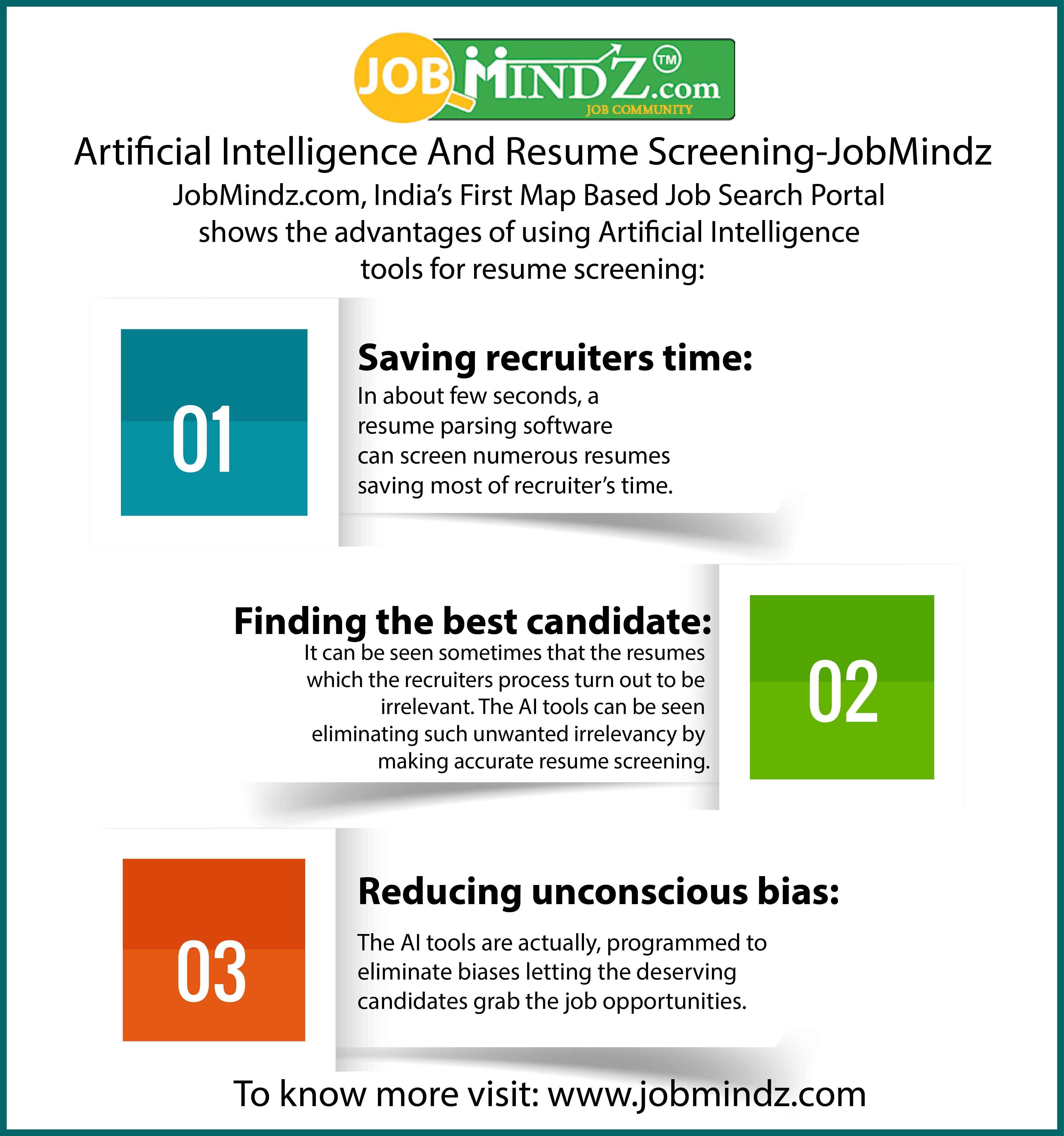 Jobmindz Com Shows The Advantage Of Using Artificial Intelligence Tools For Resume Screening Job Search App Map Ba Resume Artificial Intelligence Job Search