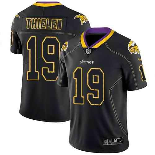 d8f098644 Nike Minnesota Vikings #19 Adam Thielen Lights Out Black Men's Stitched NFL  Limited Rush Jersey