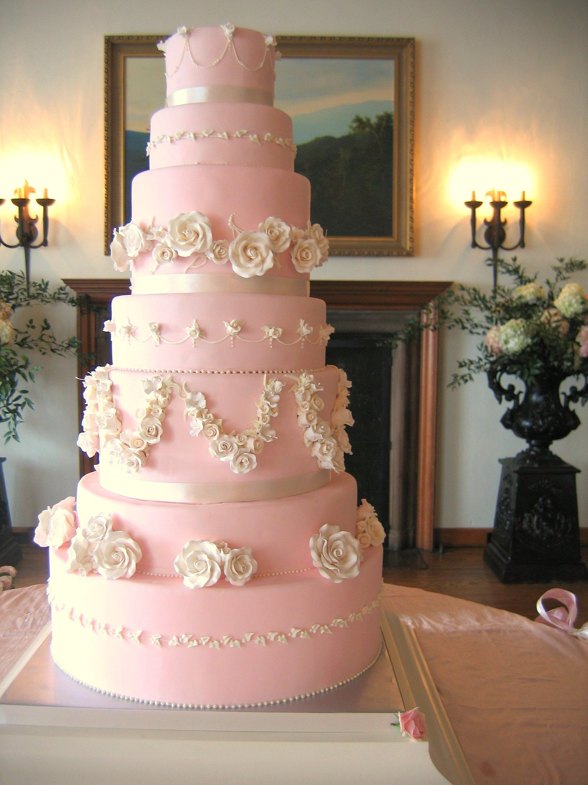 Magpies Bakery Knoxville, TN Custom Pink Buttercream Cake With Gum Paste  Floral Accessories. #