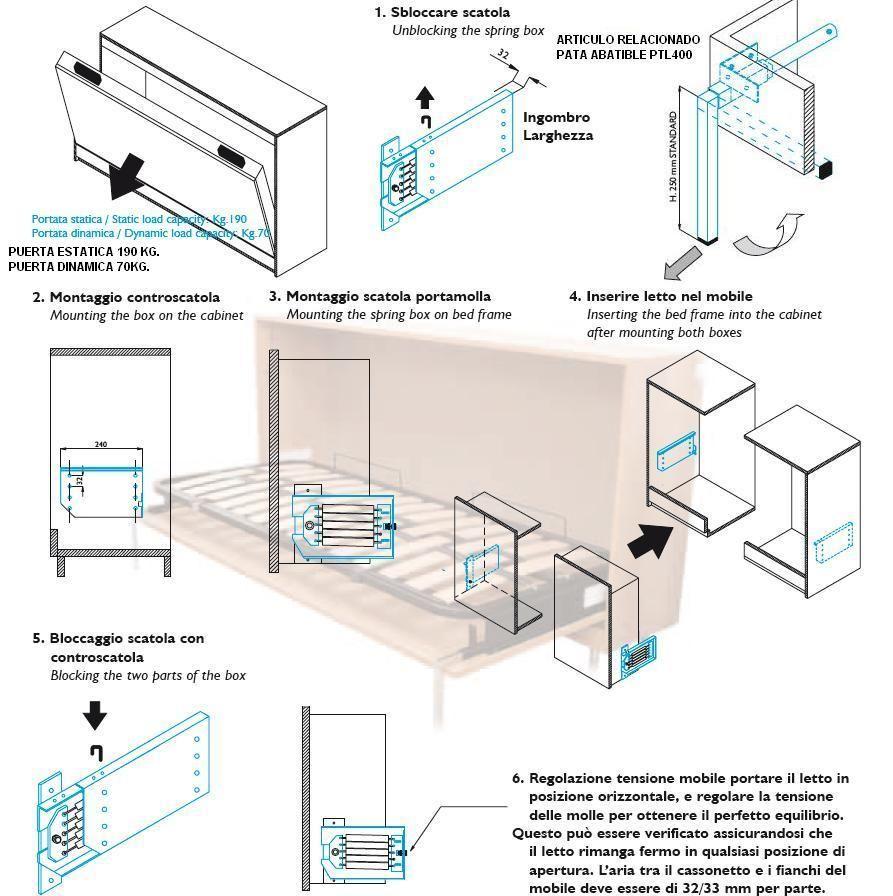 Mecanismo cama abatible mla 209 juego muebles - Mecanismo para camas abatibles ...