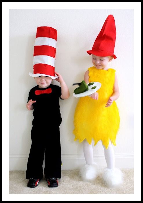 seuss halloween costumes sam i am from green eggs and ham and the cat in the hat this is a cute costume idea for siblings you could even make a family - Cat In The Hat Halloween Costume Ideas