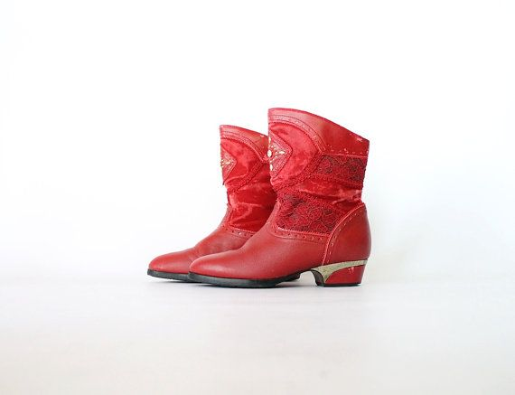 Vintage 80s Red Patchwork Gypsy Boots // Gems & by vauxvintage