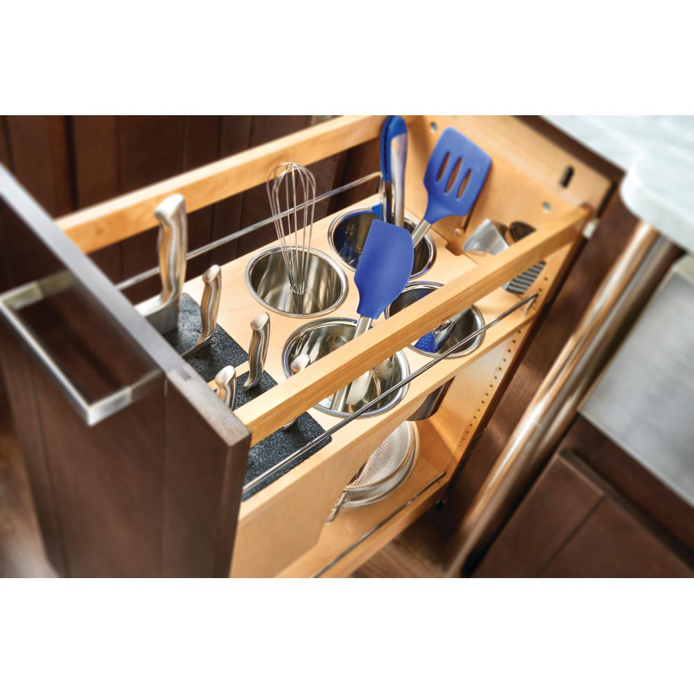 Rev-A-Shelf 25.5 in. H x 11 in. W x 21.56 in. D Pull-Out Wood Base Cabinet Organizer with Knife Block and Soft-Close Slides-448KB-BCSC-11C - The Home Depot