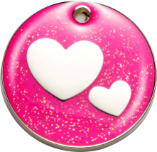 Bow Wow Glitter Pet Tag Hearts Free UK Delivery