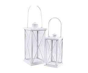 Set di 2 lanterne in metallo bianco - max 18x43x18 cm