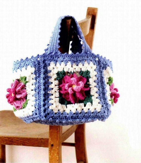 EASTER - Crochet EGG BASKET, Crochet bag, Flower Granny Square