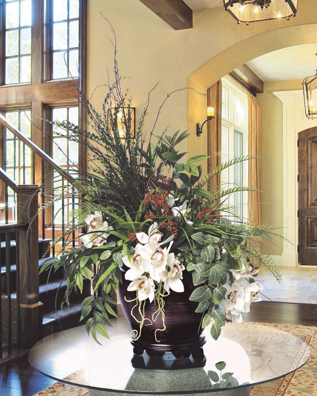 Atrium orchid planterartificial floral arrangement large