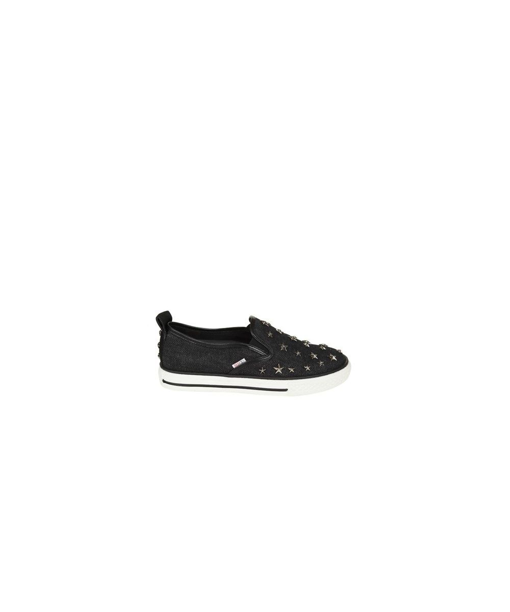 RED Valentino Designer Shoes, Dark Crackled Metallic Leather Slip On Sneakers